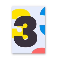 Number 3 poster vector