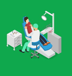 patient and dentist doctor appointment isometric vector image