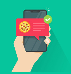 phone with pizza on screen vector image