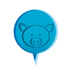 Pink round chat bubble with pig animal inside vector