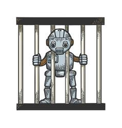 prisoner robot behind prison bars sketch engraving vector image