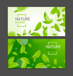 Realistic fly green leaves flyer banner posters vector