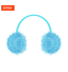 realistic furry winter headphones isolated on vector image