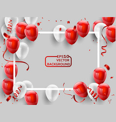 Red white balloons confetti concept design vector