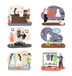 Retail clothing store set flat vector