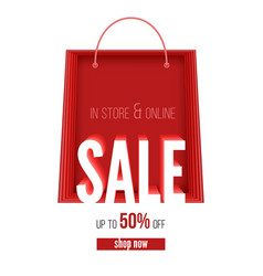 Sale banner in paper cut style in store and vector