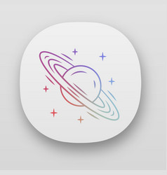 Saturn app icon planet with rings sixth planet vector