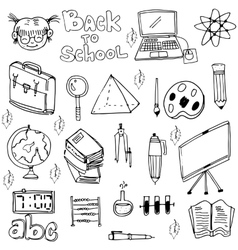 School education doodles set art vector