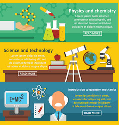 science tech banner horizontal set flat style vector image
