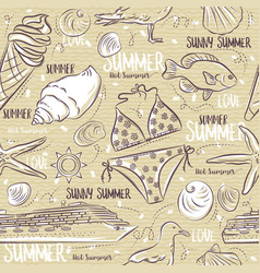 seamless patterns with summer symbols ice cream vector image