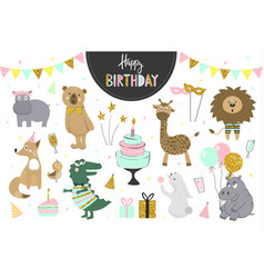set birthday party elements with cute vector image