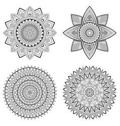 set of floral mandalas vector image