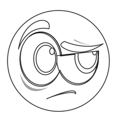 side eye face emoticon icon vector image