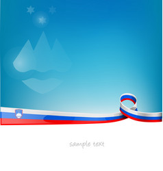 slovenia ribbon flag on blue sky background vector image
