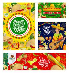 Sombrero guitar mexican food cinco de mayo vector