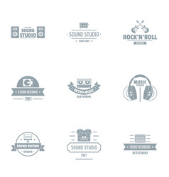 soundtrack logo set simple style vector image
