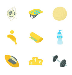 Sport things icons set cartoon style vector