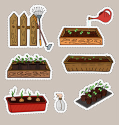 stickers of seedlings of plants in boxes vector image