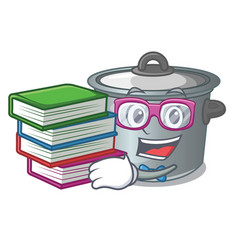 Student with book cookware stock pot isolated on vector