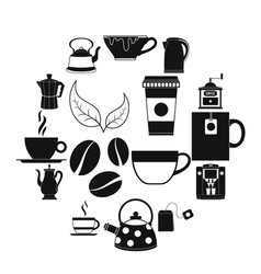 tea and coffee icons set vector image