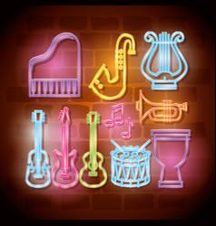 tropical instruments neon labels vector image