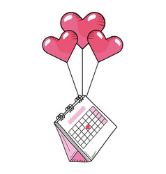 Valentines day calendar cartoon vector