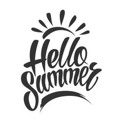 vintage hello summer typographic lettering vector image