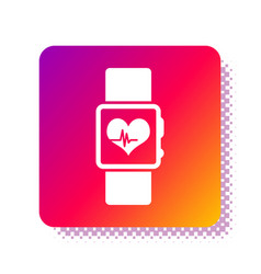 White smart watch showing heart beat rate icon vector