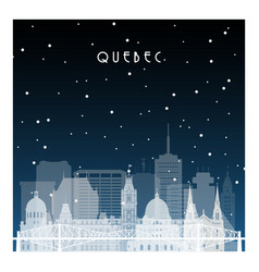 Winter night in quebec night city in flat style vector