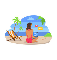 Woman in swimsuit works on laptop at exotic beach vector