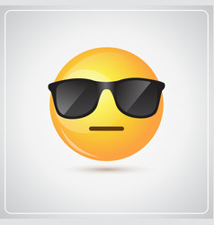 yellow smiling cartoon face wear sunglasses people vector image