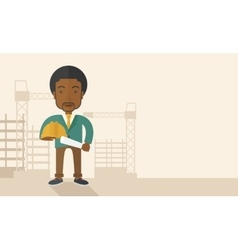 Young african construction worker holding hard hat vector image