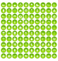 100 winter holidays icons set green vector image