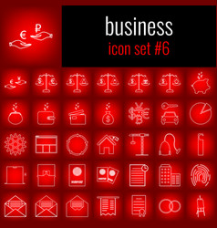 business icon set 6 white line icon on red vector image
