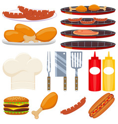 colorful cartoon bbq cooking 15 element set vector image vector image