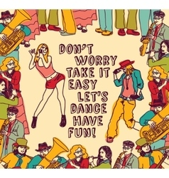 Dancing and music people positive poster color vector image vector image