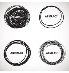 Grunge circle brush strokes set design vector image vector image