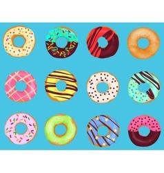 Set of cartoon doughnuts donut cake isolated on vector image