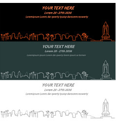 cape canaveral event banner hand drawn skyline vector image vector image