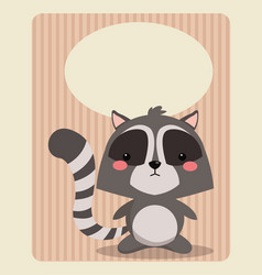 cute raccoon card greeting image vector image