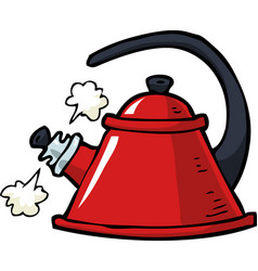 doodle boiling kettle vector image vector image