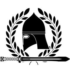 fantasy barbarian sword and helmet vector image