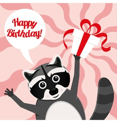 happy birthday raccoon vector image vector image
