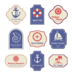 Nautical emblems set vector image