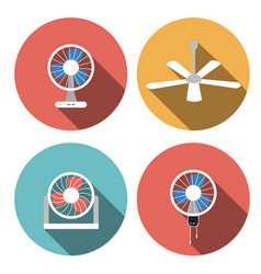 set of fan icons in flat style object vector image vector image