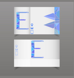 set of two business card with letter e separated vector image vector image