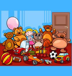 Toys group cartoon vector