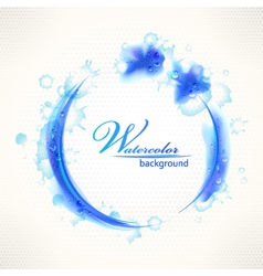 Watercolor background grunge blue frame with drops vector image vector image