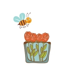 a bee flying over a vase with vector image
