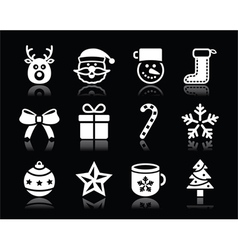 Christmas white icons with shadow set on black vector image